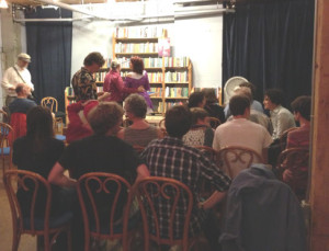 The crowd gathers at Elliott Bay Books