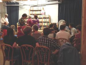 The crowd gathers at Elliott Bay Books