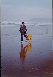 parrish & dog on beach