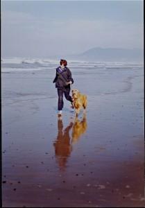 parrish & dog on beach